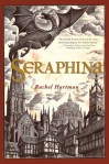 Seraphina book cover - sketch of a Bavarian-style town with cathedral, clock tower, castle, and flying dragon