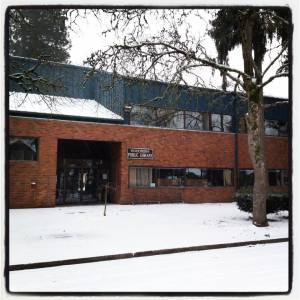 Woodburn Public Library with a rare spattering of snow.
