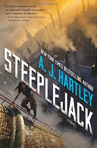 The book cover for A.J. Hartley's Steeplejack