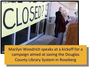 Marilyn Woodrich speaks at a kickoff for a campaign aimed at saving the Douglas County Library System in Roseberg