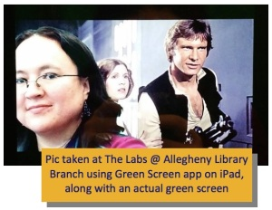 An image of librarian Violeta Garza (shown from the shoulders up) is superimposed on a scene from a Star Wars movie in which Harrison Ford and Carrie Fisher are visible