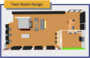 floor plan for a teen space in a public library