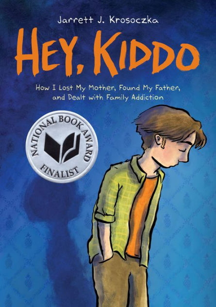 Image of the book cover for Key, Kiddo by Jarrett J. Krosoczka. Blue background and an illustration of a White teen with brown floppy hair, eyes closed, hands in pockets, and slouching.